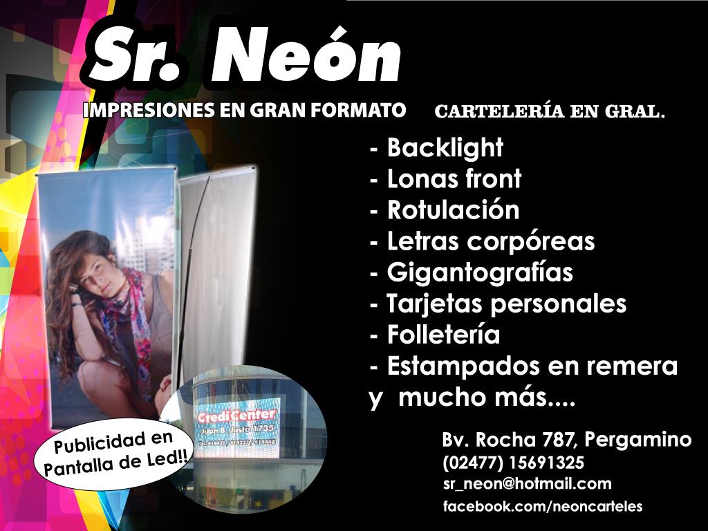 Publicidad pantalla Sr Neon