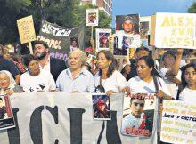 Foto:La marcha en reclamo de justicia, al cumplirse un mes de la masacre de Pergamino. A la cabeza, Nora Cortiñas y Adolfo Pérez Esquivel.